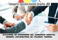 temario oposicion AUXILIARES DE ENFERMERIA DEL CONSORCIO HOSPITAL GENERAL UNIVERSITARIO DE VALENCIA: TEMARIO