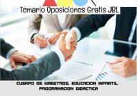 temario oposicion CUERPO DE MAESTROS. EDUCACION INFANTIL. PROGRAMACION DIDACTICA